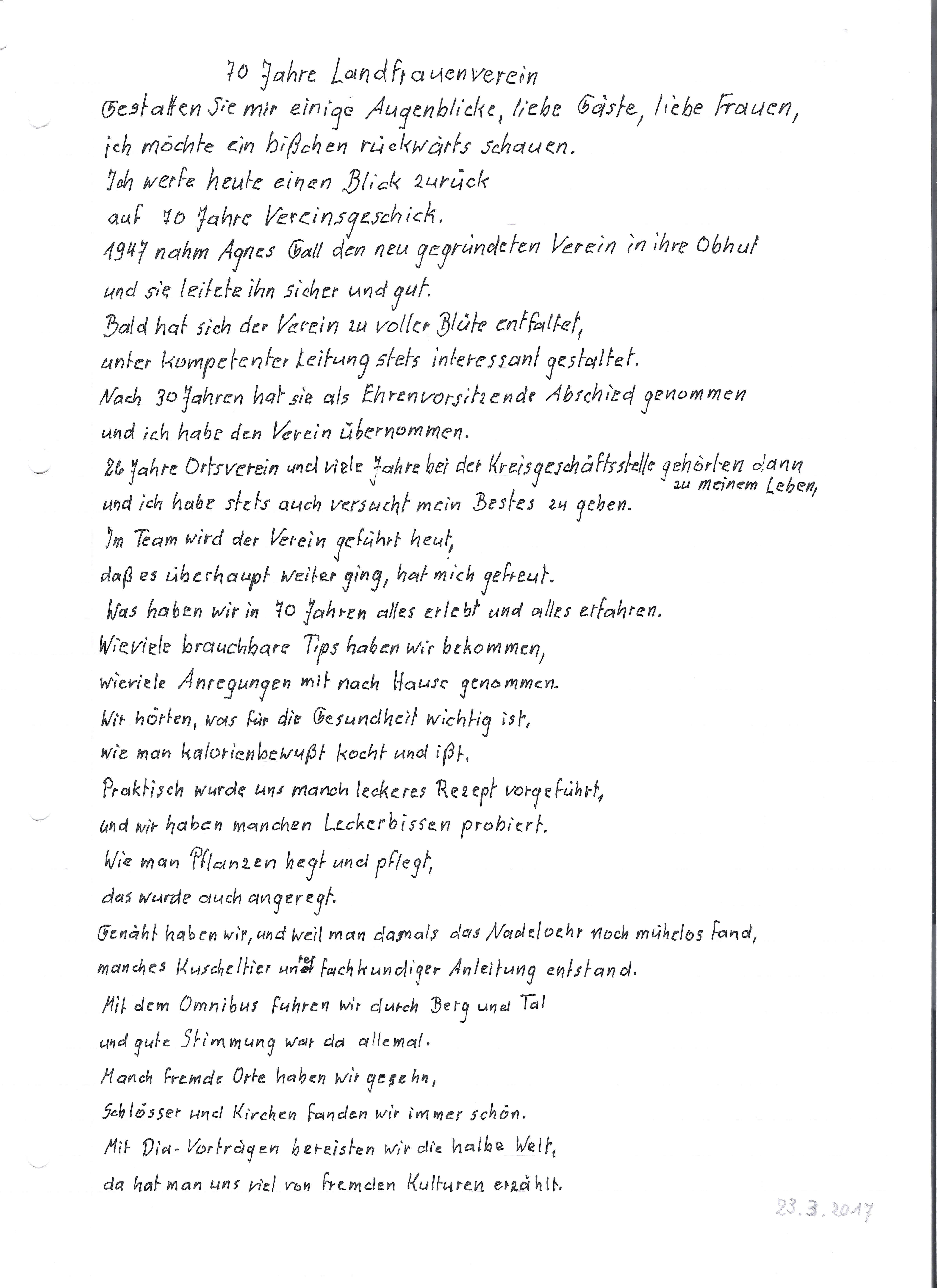 Vortrag Dorle Schlamp zum 70 Jährigen Jubiläum der Landfrauen Heilbronn-Sontheim