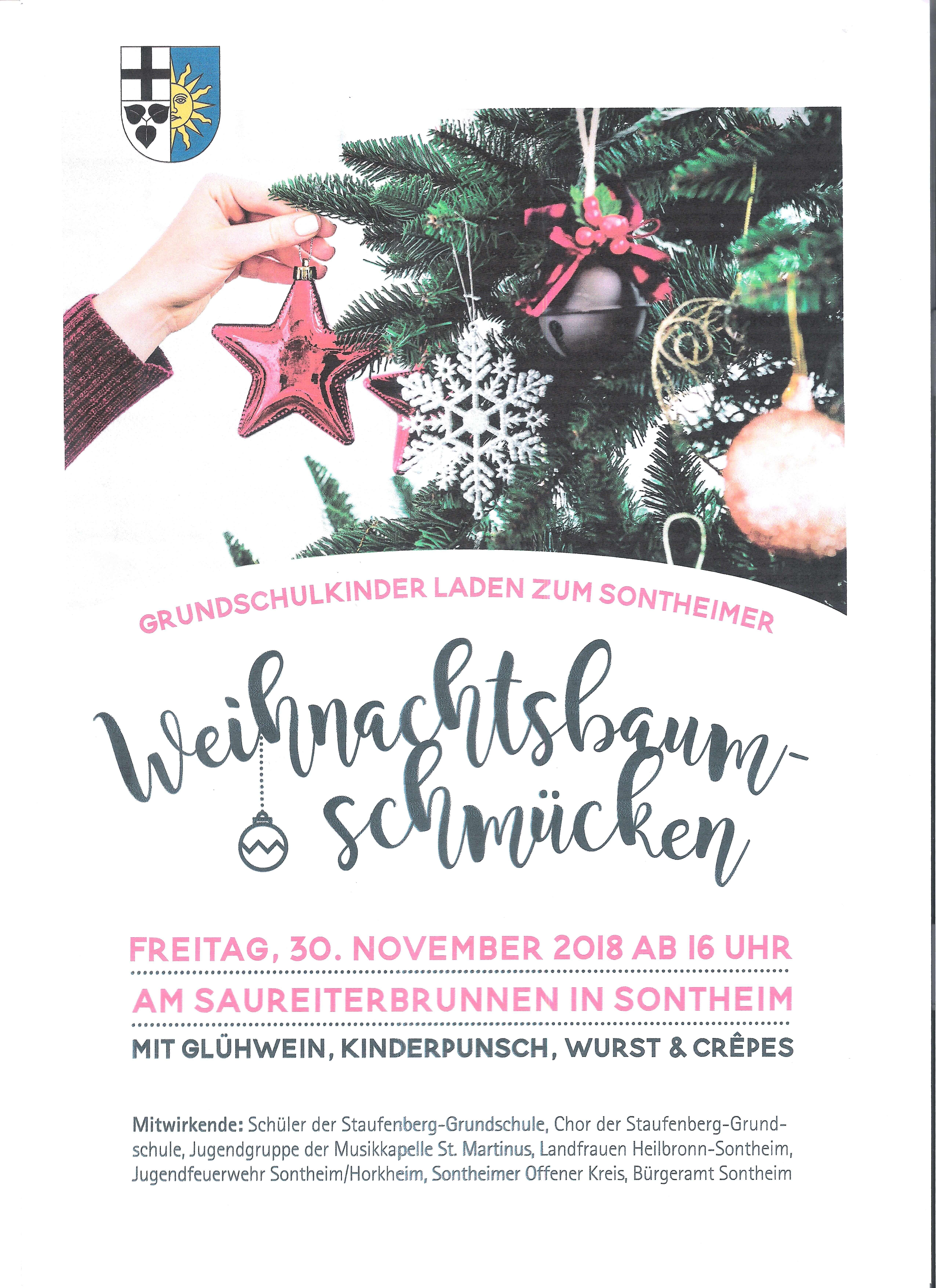 Weihnachtsbaum-Schmücken 2018 am Saureiterbrunnen in Sontheim